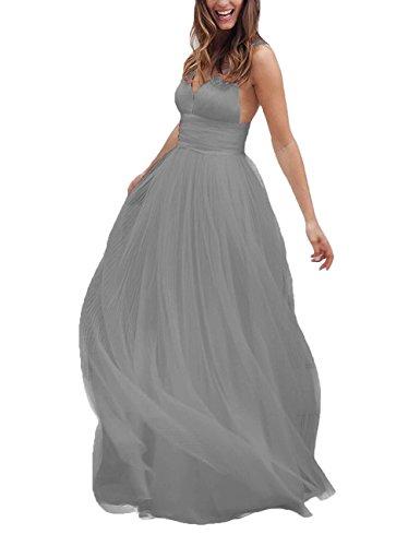 DYS Tulle Dress Silver Prom V Wedding Evening Straps Neck Long Backless Dress Women's r5vSr
