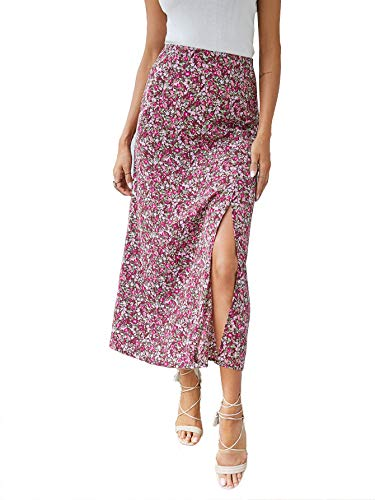 SheIn Women's Polka Dot A-Line Button Side Split Midi Knee Length Skirt