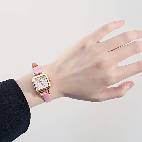 Korea Fashion Retro Fashion Belt Thin Small Square dial Bracelet Bangle Small Watch Quartz Watch Classic Women Girls Tide (Pink