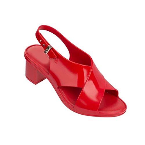 GIY Women's Jelly Heeled Sandals Peep-Toe Platform Chunky Hi