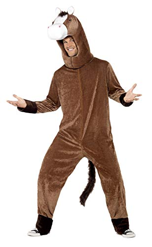 Smiffys Adult Unisex Horse Costume, Bodysuit and Hood, Party Animals, Serious Fun, One Size, 41037