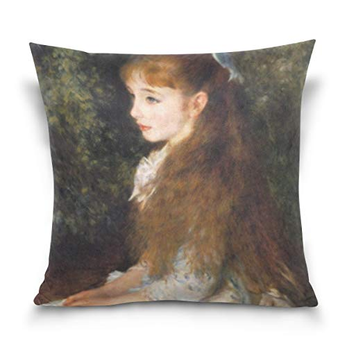 (SUABO Throw Pillow Covers 20x20 Soft Cotton Cushion Cover for Sofa with Portrait of Mademoiselle)