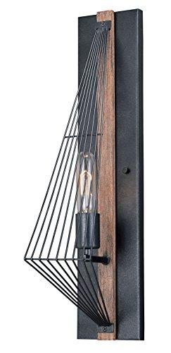- Dearborn 1L Wall Light Burnished Oak/Black Iron