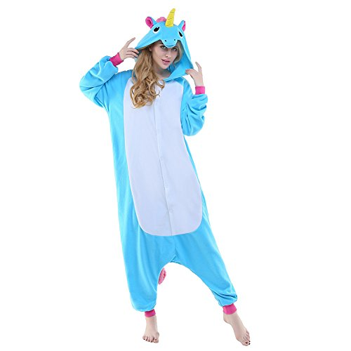 New Costumes - Newcosplay Unisex Unicorn Pyjamas Halloween Costume (M, New Blue Unicorn)