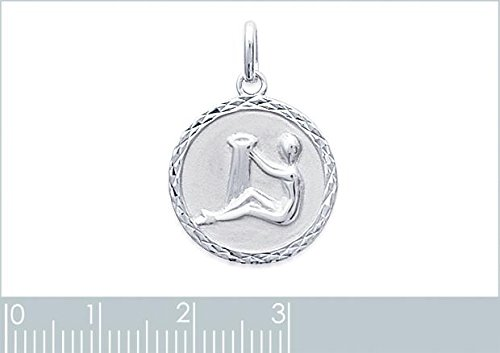 Gravur Kostenlos 925er Sterling Silber Anh/änger zum Gravieren Sternzeichen Wassermann Rund Silber Isady