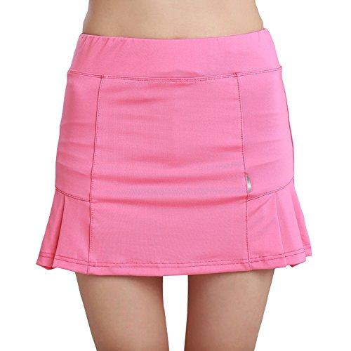 Women's Juniors Active Athletic Skort Lightweight Pleated Skirt for Running Tennis Golf Workout Pink Tag L-US (Range Wear Knit Skort)