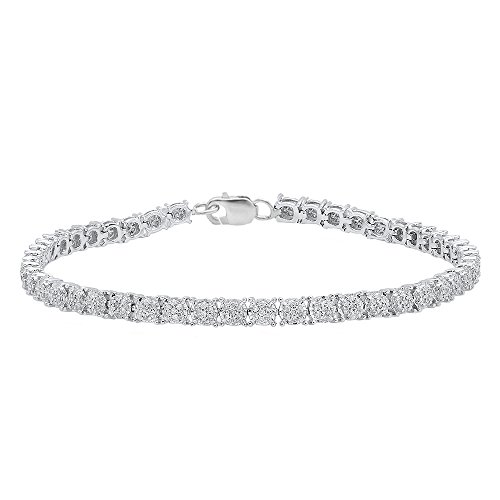 1.00 Carat (ctw) Sterling Silver Round White Diamond Ladies Cluster Tennis Link Bracelet by DazzlingRock Collection