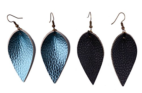 L&N Rainbery 2 Pairs Petal Leather Earrings Faux Leather Teardrop Earrings Leaf Drop Earrings (Shiny Teal+Black)