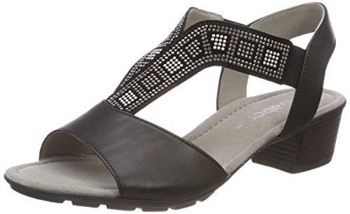 Schwarz Nero con Cinturino Casual Sandali Donna Anthrazit alla Caviglia Gabor gZw78nqBB