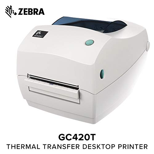 Zebra - GC420t Thermal Transfer Desktop Printer for Labels, Receipts, Barcodes, Tags, and Wrist Bands - Print Width of 4 in - USB, Serial, and Parallel Port Connectivity (Includes Peeler)