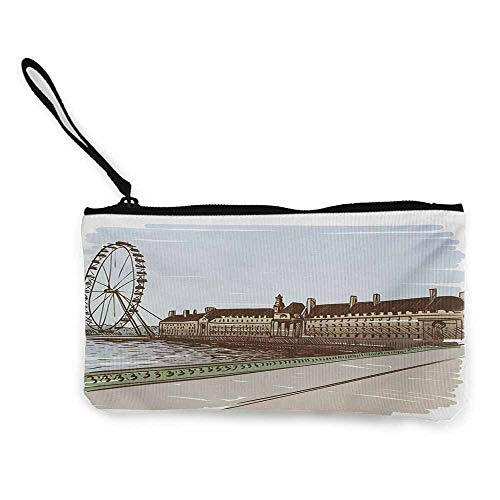 Women's Wallets London,Buckingham Palace Historical Building Thames River Ferris Wheel Pencil Drawing Art,Multicolor W8.5