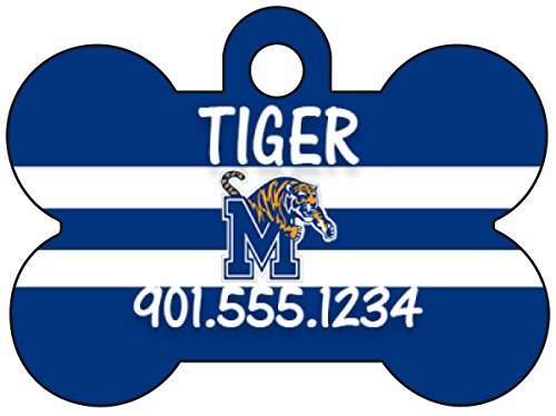 Tigers Personalized Football - American Athletic Conference Football Dog Tag Pet Id Tag Cat Tag Personalized w/ Name & Number (Memphis Tigers)