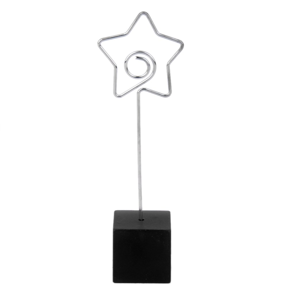Black Cube Base Card Picture Memo Photo Clip Holder Star Shape Wire Clip Generic