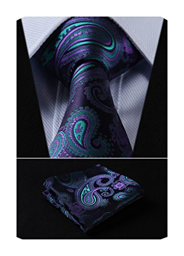 Tie Woven (SetSense Men's Floral Paisley Jacquard Woven Tie Necktie Set 8.5 cm / 3.4 inches in Width Navy Blue / Green / Purple)