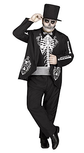 Fun World Men's Day of The Dead Black White Bones Suit, Multi, Plus (Dead Bride Costume Plus Size)