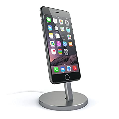Satechi Aluminum Desktop Charging Stand for iPhone 5 / 5S / 5C / 6 / 6s / 6 Plus / 6s Plus / 7 / 7 Plus/ iPod touch 5G / iPod nano 7G (Space (12 South Iphone 6 Plus Dock)
