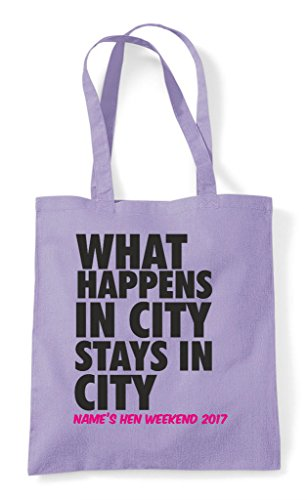 Stays What In Do Happens Customised Party Hen Personalised Lavender Tote Your Shopper City Bag EIwFqx0Ax