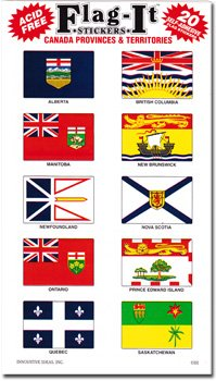 Canadian Provinces and Territories - Country Stickers (20 Pack)