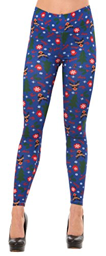 Costume Ideas For Christmas Vacation Party (Just One Women's Winter Reindeer Christmas Leggings (Blue Reindeer Cheer, 3X))