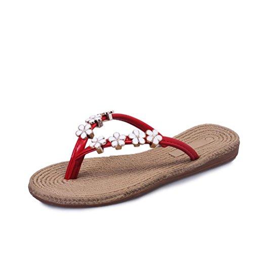 hunpta - Sandalias deportivas para mujer Red
