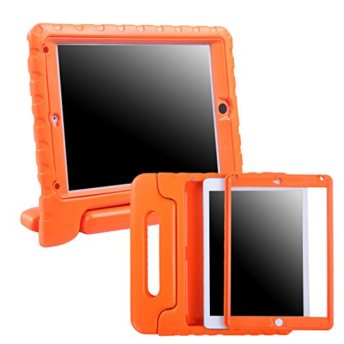HDE Case for iPad Air 2 - Kids Shockproof Bumper Hard Cover Handle Stand with Built in Screen Protector for Apple iPad Air 2 - 2014 Release 2nd Generation (Orange)