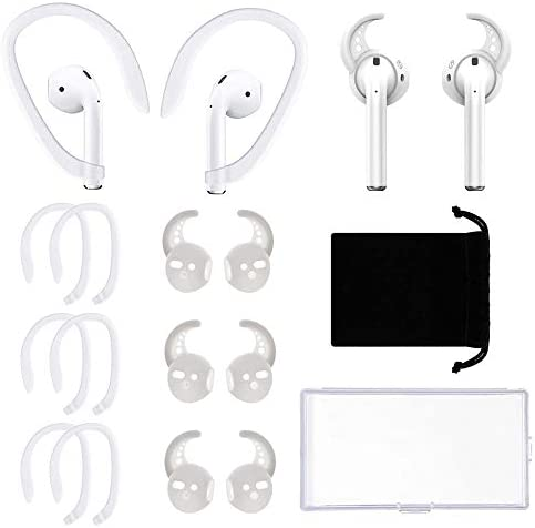 6 Pairs AirPods Accessories Ear Hooks Ear Cover Ear Holder, Professional Anti-Slip Silicone Earbuds Tips Hook Compatible with Apple Airpods 1 and a couple of(3+3 Pairs White)