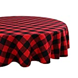 OurWarm Buffalo Plaid Cotton Christmas Tablecloth Round 70 Inch, Waterproof Red and Black Checked Tablecloth for Lumberjack Baby Shower Christmas Decorations