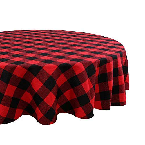 OurWarm Buffalo Plaid Cotton Christmas Tablecloth Round 70 Inch, Waterproof Red and Black Checked Tablecloth for Lumberjack Baby Shower Christmas Decorations (Round Red 70 Tablecloth)