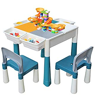 Kids 4-in-1 Multi Activity Build Table and 2 Chair Set 120 Pieces Large Building Blocks Water Table Building Block Table Play Arts Crafts Table with Storage Space for Kids Toddler (Primary, 20 inch)