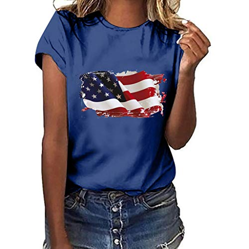 TnaIolral Women Independence Day T-Shirt National Flag Print Short Sleeve Plus Size Tops (XL, Navy)