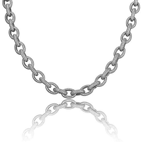 Shop-iGold 18K Gold Lab Diamond Rolo Chain Link Micro Pave Iced Out Mens Choker Necklace - Mens Jewelry, Men