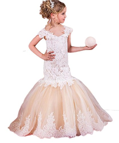 Adela Lace Mermaid Vintage Flower Girls Dresses for Wedding Appliques Capped Sleeves Kids Long Pageant Gown AR075 ()