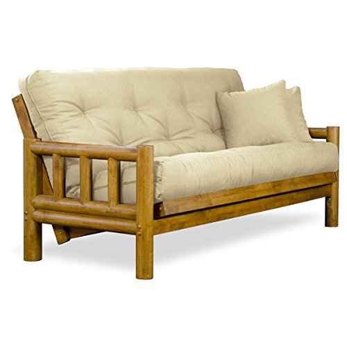 Size Queen Pecan Bed - Nirvana Futons Rustic Tahoe Log Futon Sofabed Set - Queen Frame, 8
