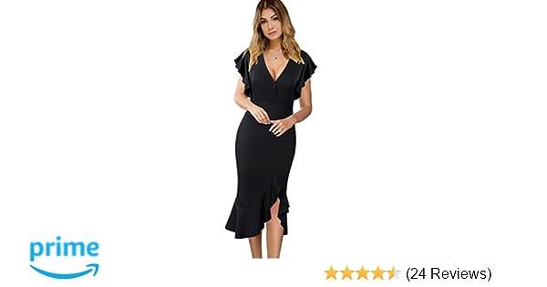 VFSHOW Womens Elegant Ruffles Cocktail Party Mermaid Wiggle Midi Dress at  Amazon Women s Clothing store  74c365b42