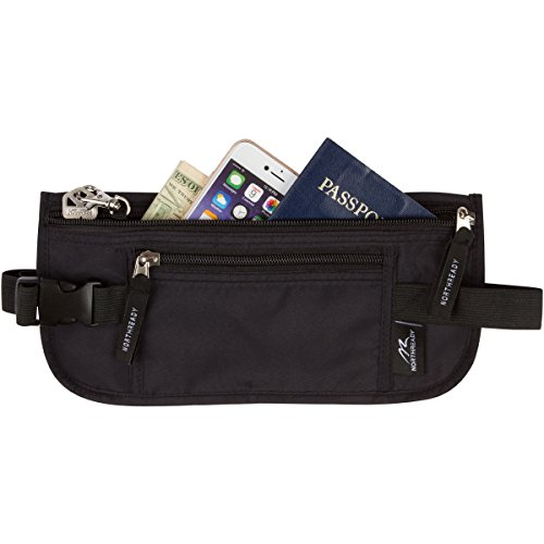 NORTHREADY RFID Travel Money Belt, Hidden Waist Pack to Protect Your Money, Passport, Phone and Credit Cards, Durable and Lightweight 11-1/8