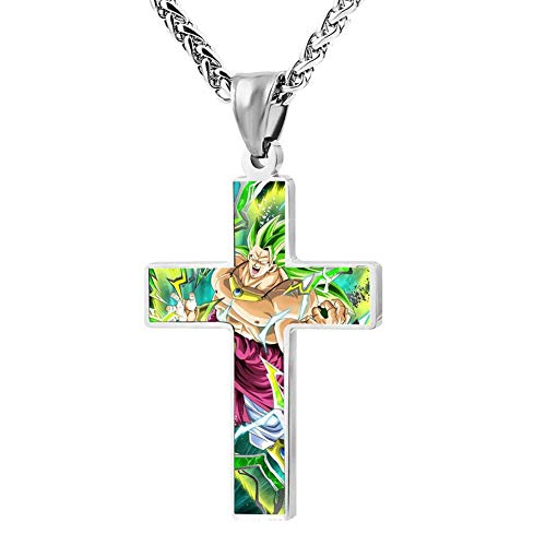 Wanperd Custom Super Saiyan Bro-Ly Cross Pendant Necklace Zinc Alloy Necklace Christian Religious Jewelry for Men/Women