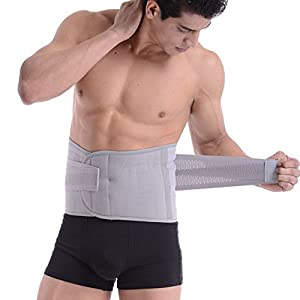 Goege Adjustable Breathable Trimmer Belt,Tummy Fat Burning Slimming Belt,Body Shaper Slimming Tummy Waist Trainer,Lose Weight Fast,Helps Lose Post Boby Weight,Best Waist Trimmer Beer Belly for Men,Grey,Size L