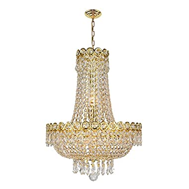 Worldwide Lighting W83049G16 8-Light Empire Chandelier with Clear Crystal, 16 x 20 , Gold Finish