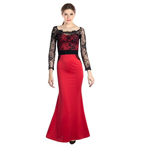 OpenBeauty Women's Cocktail Party Evening Mermaid Gown Lace Maxi Dress(M,Red)