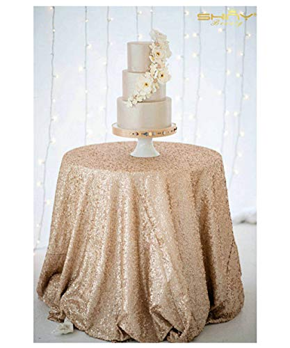 ShinyBeauty Best Selling 108in round Champagne Sequin Tablecloth,Ready To Ship (Tablecloths Champagne Cheap)