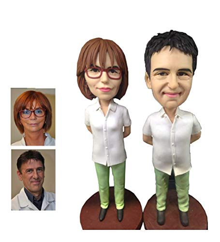 Fully Custom Occupational Bobblehead Figurine Personalized Gifts Based on Your Photos, Two people,DHL Expedited Shipping Service (Custom Head Bobble 2)