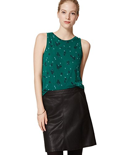 ann-taylor-loft-womens-green-floral-mixed-media-knife-pleated-shell-blouse-medium