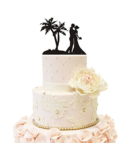Wedding Cake Topper Beach Honeymoon Wedding Bride Groom with Palm Tree (Beach Theme - Beach Theme Cake Wedding