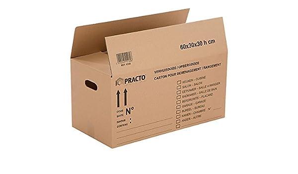 Practo O161 - Caja para mudanza (cartón, 80 x 40 x 40 cm): Amazon ...