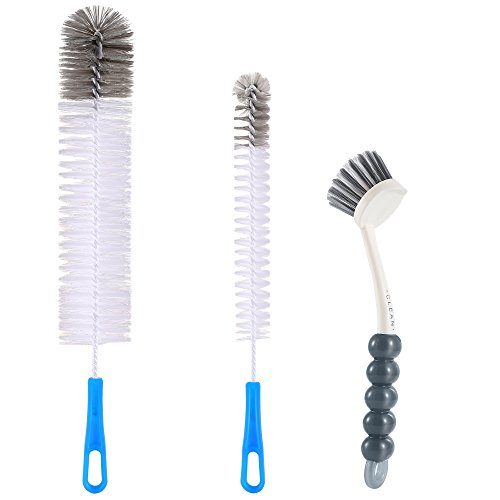 Zannaki 3Pcs Food Grade Multipurpose Cleaning Brush Set,Lab Cleaning Brushes,Includes Comfortable Grips Dish Brush with Scraper Tip|Bottle Brush|Kitchen Sink Brush, Stiff Nylon Bristles Kit