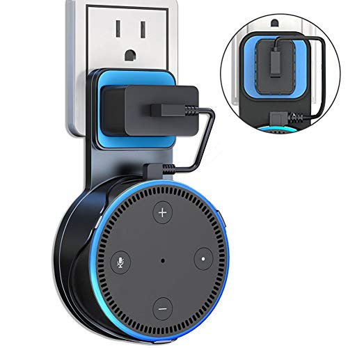 - Echo Dot Wall Mount OUYUI Outlet Hanger Holder Stand for Dot 2nd Generation, No Messy Wires or Screws Space-Saving for Bathroom Bedroom Kitchens, Short Charging Cable Included