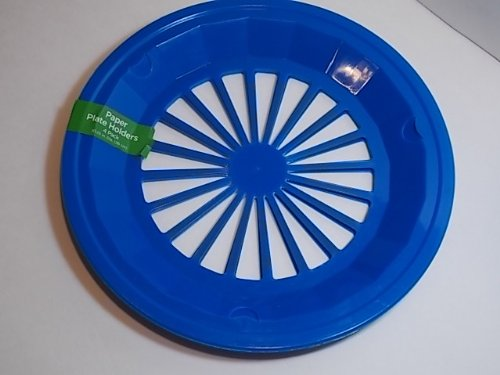 Reusable Plastic Paper Plate Holders Set Of 4 Blue Shade May Vary