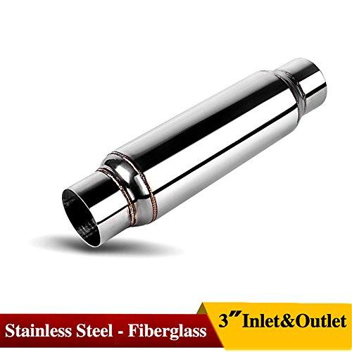 Universal 3  Inlet Outlet Exhaust Muffler Bottle Resonator 304 Stainless Steel 16  Length  Fiberglass Rsn304016