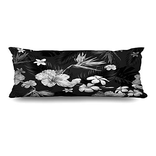 Ahawoso Zippered Body Pillow Cover 20x60 Inches Spring Botanical Textile Beautiful Floral Pattern Tropical Beauty Palm Fashion Textures Upholstery Decorative Cushion Case Home Decor Pillowcase (Upholstery Springs Palm)