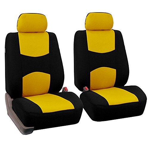 FH Group Universal Fit Flat Cloth Pair Bucket Seat Cover, (Yellow/Black) (FH-FB050102, Fit Most Car, Truck, Suv, or Van)